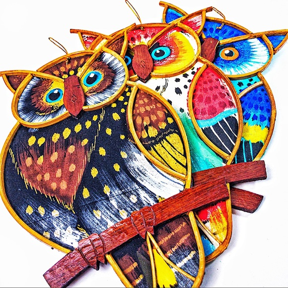 Set of 3 Hand Painted Owls - Wall Decor